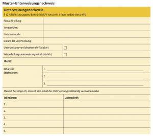 Sicherheitsregeln Muster-Unterweisungsnachweis